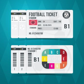 Football ticket card modern design. Vector illustration