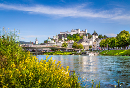 Historic city of Salzburg with Salzach river in summer, Salzburger Land, Austria